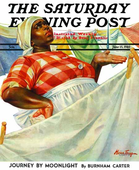 WomenArt Mariam Troop Saturday Evening Post Laundry Day 1940_06_15 | 69 Women Cover Artists and 826 Covers 1902-1970