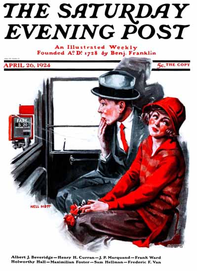 WomenArt Nell Hott Cover Saturday Evening Post The Fare 1924_04_26 | 69 Women Cover Artists and 826 Covers 1902-1970