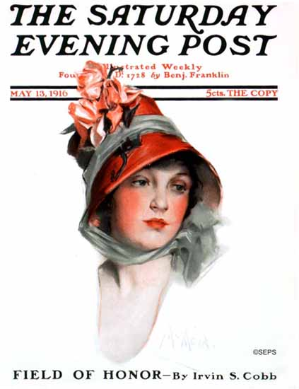 WomenArt Neysa McMein Cover Saturday Evening Post 1916_05_13 | 69 Women Cover Artists and 826 Covers 1902-1970