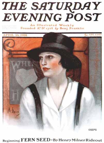 WomenArt Neysa McMein Cover Saturday Evening Post 1921_04_16   69 Women Cover Artists and 826 Covers 1902-1970