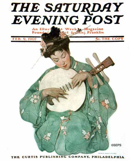 WomenArt Sarah Stilwell-Weber Cover Saturday Evening Post 1907_02_09 | 69 Women Cover Artists and 826 Covers 1902-1970