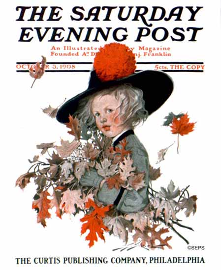 WomenArt Sarah Stilwell-Weber Cover Saturday Evening Post 1908_10_03 | 69 Women Cover Artists and 826 Covers 1902-1970