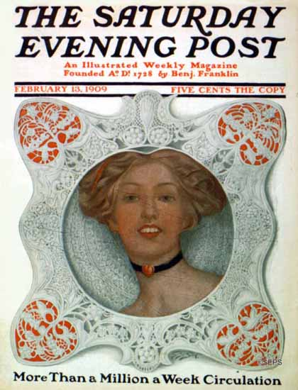 WomenArt Sarah Stilwell-Weber Cover Saturday Evening Post 1909_02_13 | 69 Women Cover Artists and 826 Covers 1902-1970