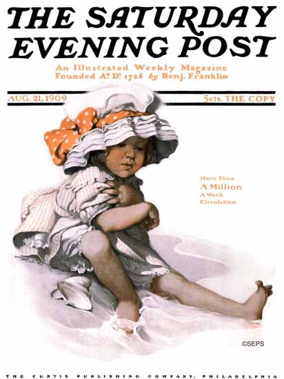 WomenArt Sarah Stilwell-Weber Cover Saturday Evening Post 1909_08_21 | 69 Women Cover Artists and 826 Covers 1902-1970