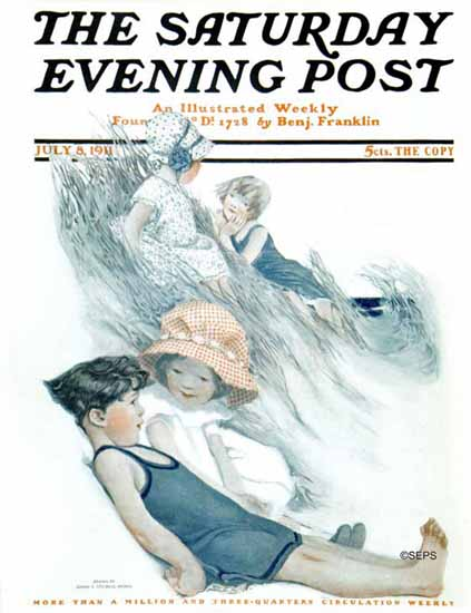 WomenArt Sarah Stilwell-Weber Cover Saturday Evening Post 1911_07_08 | 69 Women Cover Artists and 826 Covers 1902-1970
