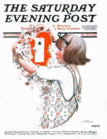 WomenArt Sarah Stilwell-Weber Cover Saturday Evening Post 1918_10_05   69 Women Cover Artists and 826 Covers 1902-1970
