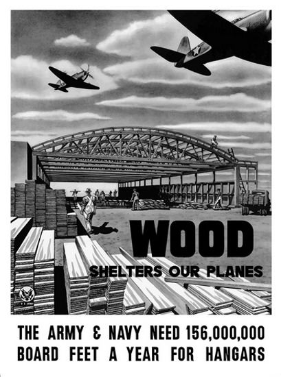 Wood Shelters Our Planes Army Aircraft Hangar | Vintage War Propaganda Posters 1891-1970