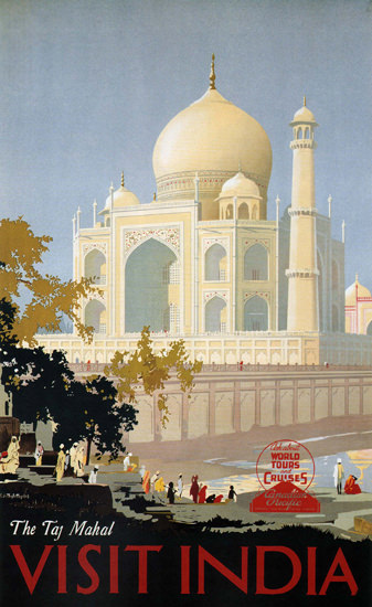 World Tour Cruises Taj Mahal Visit India Canada | Vintage Travel Posters 1891-1970