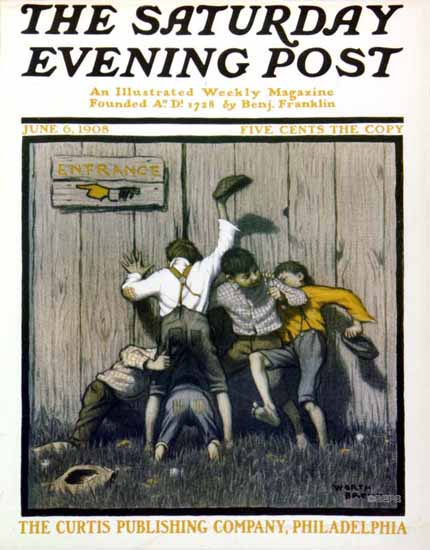 Worth Brehm Saturday Evening Post Cover 1908_06_06 | The Saturday Evening Post Graphic Art Covers 1892-1930