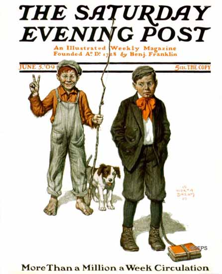 Worth Brehm Saturday Evening Post Cover Alfred E Neuman in 1909_06_05 | The Saturday Evening Post Graphic Art Covers 1892-1930