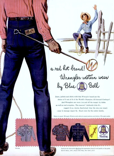 Wrangler Western Ware Jeans By Blue Bell | Vintage Ad and Cover Art 1891-1970