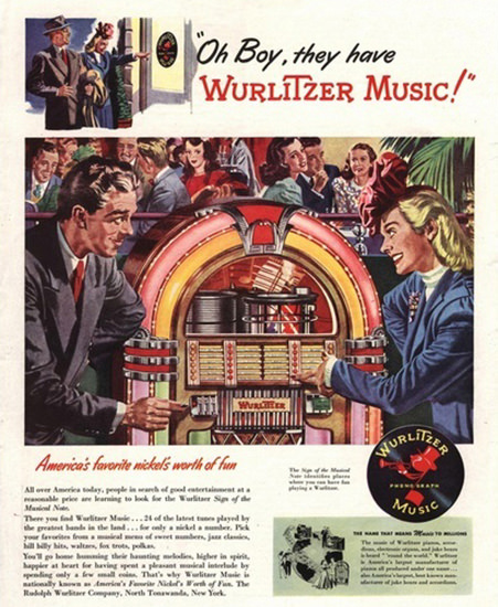 Wurlitzer Music Americans Favorite Worth Of Fun | Vintage Ad and Cover Art 1891-1970