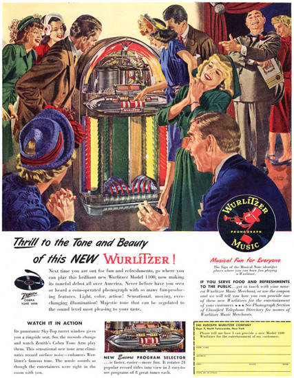Wurlitzer Phonograph Music 1947 | Sex Appeal Vintage Ads and Covers 1891-1970