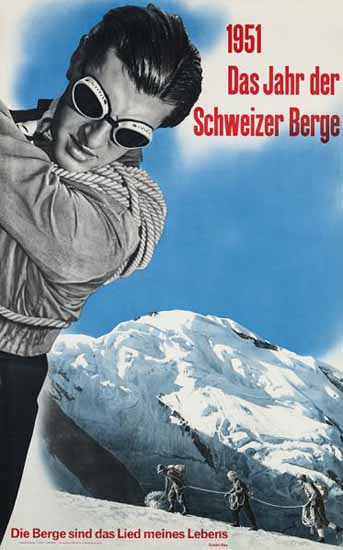 Year Of The Swiss Mountains Switzerland 1951 | Vintage Travel Posters 1891-1970