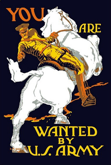 You Are Wanted By US Army Office On Horse | Vintage War Propaganda Posters 1891-1970