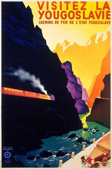 Yougoslavie Visit Yugoslavia Canyon Train | Vintage Travel Posters 1891-1970