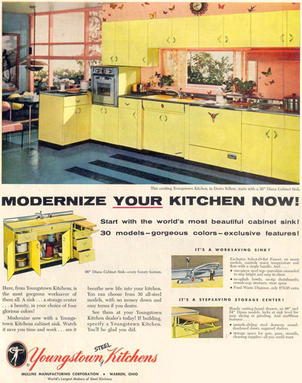 Youngstown Kitchens 1955 | Vintage Ad and Cover Art 1891-1970