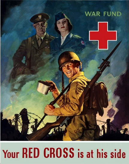 Your Red Cross Is On His Side War Fund Soldier | Vintage War Propaganda Posters 1891-1970
