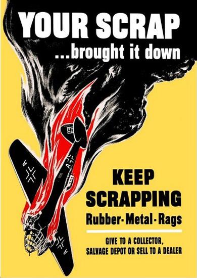 Your Scrap Brought It Down Shut Down Bomber   Vintage War Propaganda Posters 1891-1970