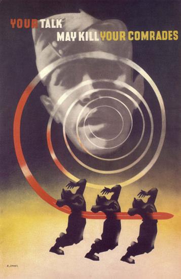 Your Talk May Kill Your Comrades United Kingdom | Vintage War Propaganda Posters 1891-1970
