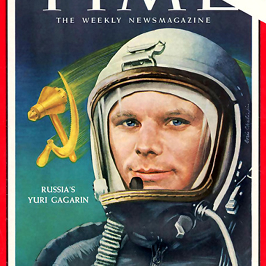 Yuri Gagarin Time Magazine 1961-04 by Boris Chaliapin crop | Best of Vintage Cover Art 1900-1970