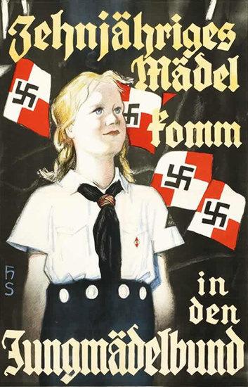 Zehnjaehriges Maedel Jungmaedelbund Hitler   Vintage War Propaganda Posters 1891-1970