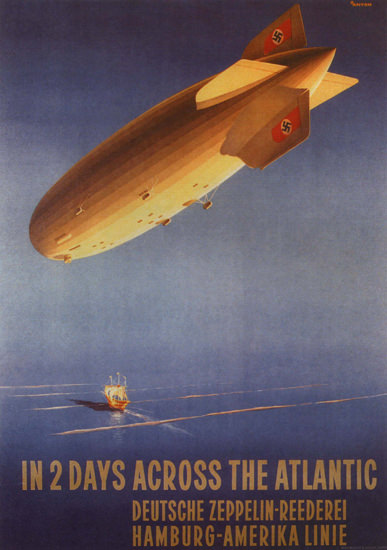 Zeppelin Hamburg-Amerika Linie Across Atlantic | Vintage Travel Posters 1891-1970