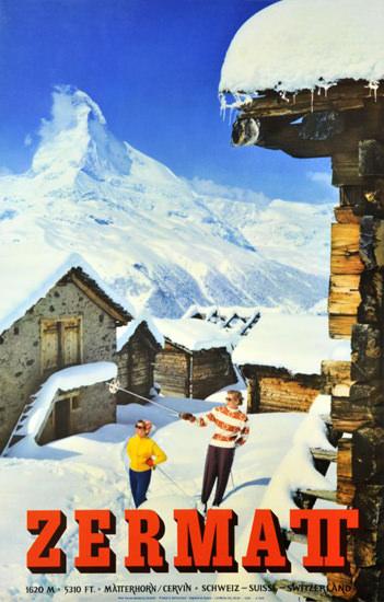 Zermatt Matterhorn Cervin Schweiz Suisse 1959   Vintage Travel Posters 1891-1970