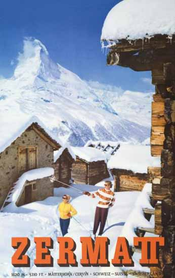 Zermatt Matterhorn Cervin Schweiz Switzerland 1956   Vintage Travel Posters 1891-1970