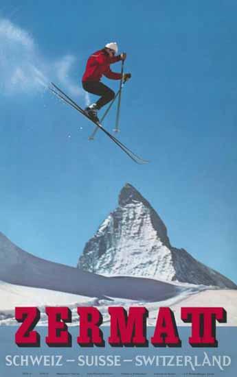 Zermatt Matterhorn Skiing Schweiz Switzerland 1970 | Vintage Travel Posters 1891-1970