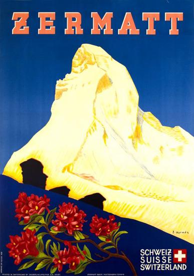 Zermatt Matterhorn Valais Suisse 1938   Vintage Travel Posters 1891-1970