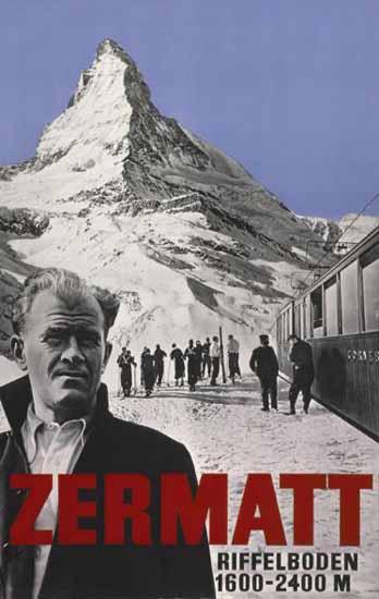 Zermatt Riffelboden Matterhorn Skiing Switzerland 1934   Vintage Travel Posters 1891-1970
