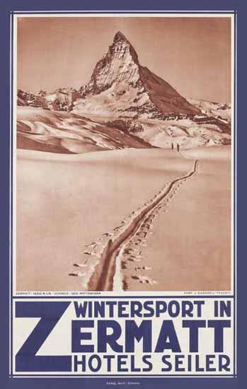 Zermatt Winter Zermatt Hotels Seiler Switzerland 1935 | Vintage Travel Posters 1891-1970