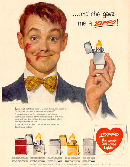 Zippo And She Gave Me A Zippo 1953 | Sex Appeal Vintage Ads and Covers 1891-1970