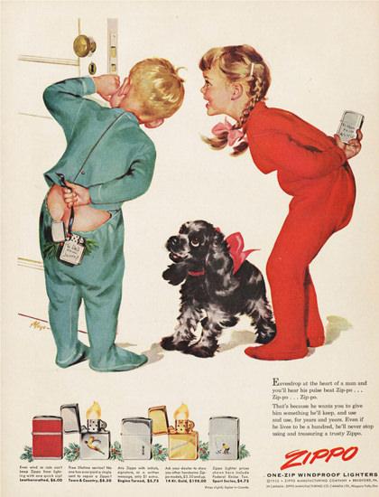 Zippo Pyjama Kids And Dog | Vintage Ad and Cover Art 1891-1970