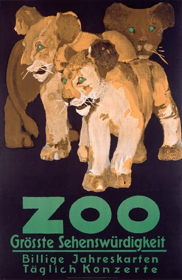 Zoo Groesste Sehenswuerdigkeit Lion Babies | Vintage Ad and Cover Art 1891-1970