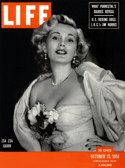 Zsa Zsa Gabor 15 Oct 1951 Copyright Life Magazine | Life Magazine BW Photo Covers 1936-1970
