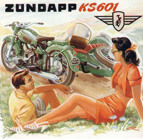 Zuendapp Motorcycles KS601 Sidecar Model 1951 | Sex Appeal Vintage Ads and Covers 1891-1970