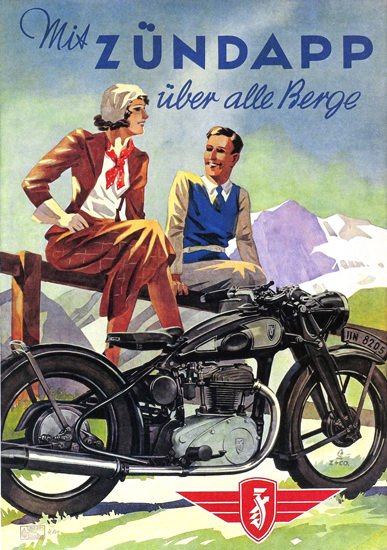 Zuendapp Motorcycles Ueber Alle Berge 1938 | Vintage Travel Posters 1891-1970