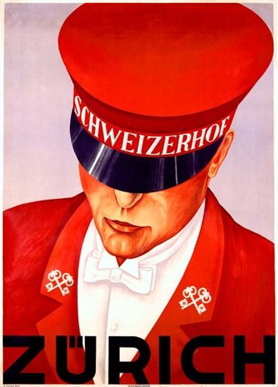 Zuerich Hotel Schweizerhof Concierge Lucerne | Vintage Travel Posters 1891-1970