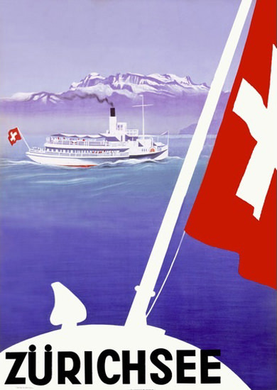 Zuerichsee Steamboat Flag Lake Zurich | Vintage Travel Posters 1891-1970