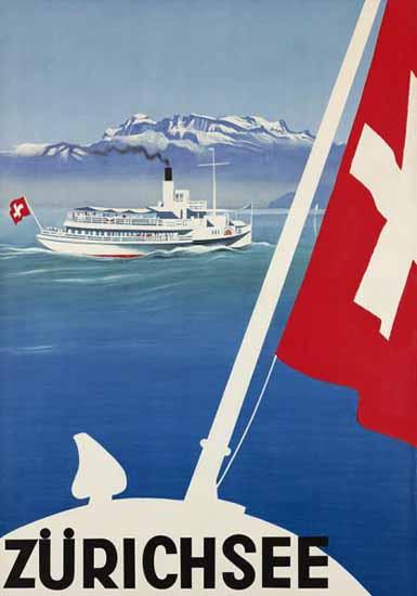 Zuerichsee Steamboat Lake Zurich Switzerland 1935 | Vintage Travel Posters 1891-1970