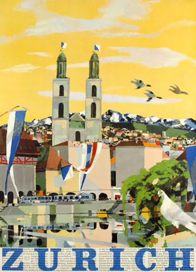 Zurich Dome Switzerland 1957 | Vintage Travel Posters 1891-1970