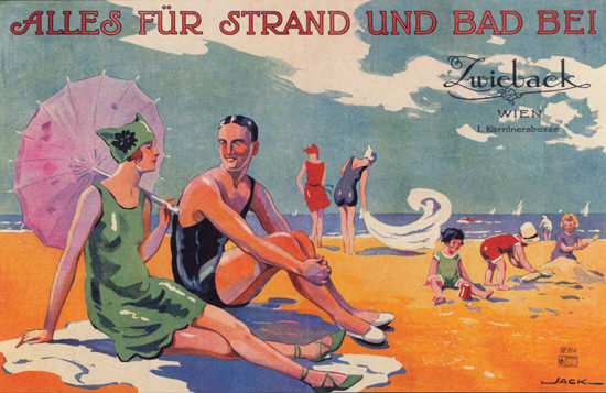 Zwieback Wien Alles Fuer Strand Und Bad | Sex Appeal Vintage Ads and Covers 1891-1970